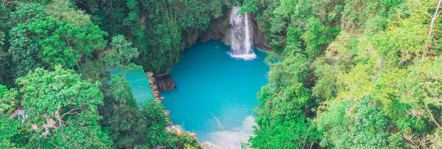 The azure kawasan waterfall in cebu. the maining attraction on the island. concept about nature and wanderlust traveling