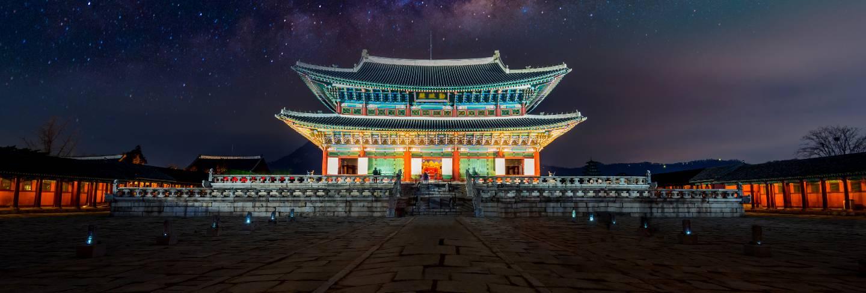 Gyeongbokgung palace and milky way in seoul, south korea