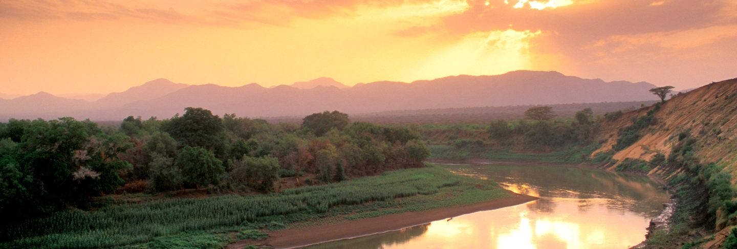 Sunset over the omo river