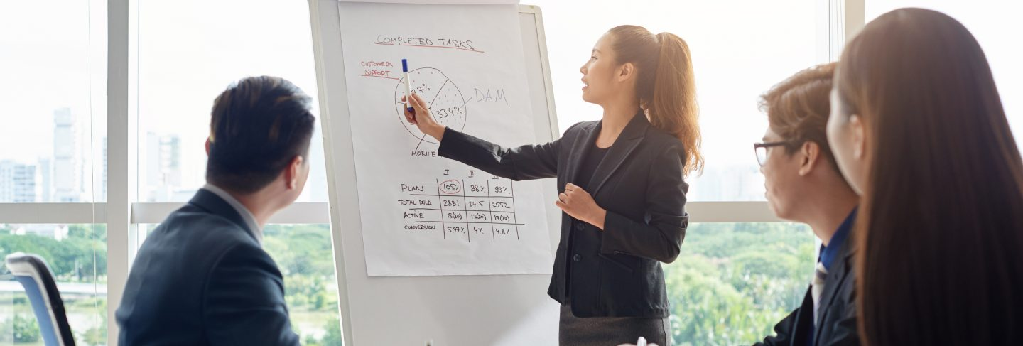 Attractive businesswoman holding meeting