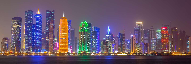 Doha city skyline night view, qatar