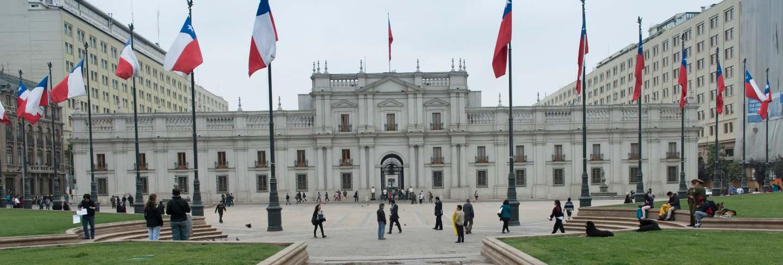 Facade of the la moneda palace, santiago, santiago metropolitan region, chile