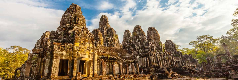 Retro face of bayon castle in cambodia