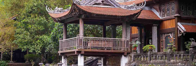 Beautiful temple view in trang an, ninh binh, vietnam