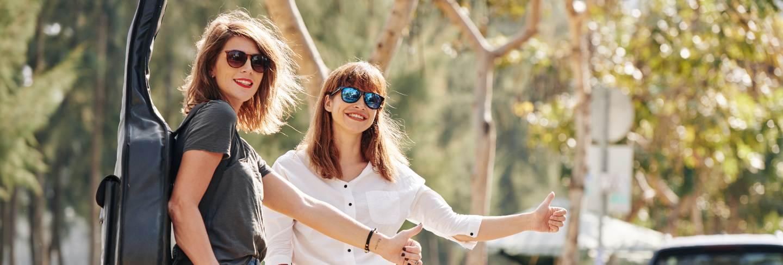 Hitchhiking young women