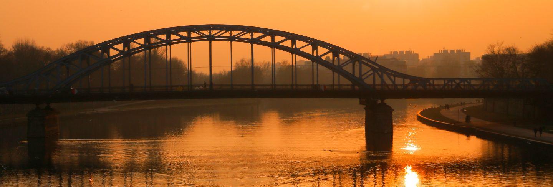 Steel bridge over a river