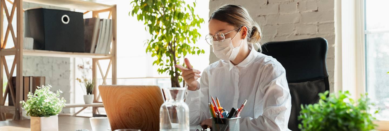 Woman working from home during coronavirus or covid-19 quarantine